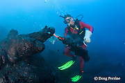 diver Bud Turpin and lava erupting underwater at ocean entry from Kilauea Volcano, Hawaii Island ( the Big Island ), Hawaii, U.S.A. ( Central Pacific Ocean ) MR 381
