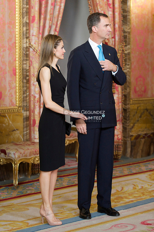 Prince Felipe of Spain and Princess Letizia of Spain attends a meeting with members of the 'Principe de Asturias Foundation' at the Royal Palace on June 10, 2014 in Madrid, Spain.