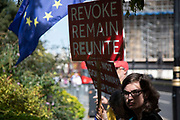 Anti Brexit protesters waving placards in Westminster as it is announced that Boris Johnson has had his request to suspend Parliament approved by the Queen on 28th August 2019 in London, England, United Kingdom. The announcement of a suspension of Parliament for approximately five weeks ahead of Brexit has enraged Remain supporters who suggest this is a sinister plan to stop the debate concerning a potential No Deal.