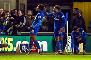 AFC Wimbledon defender Toby Sibbick (20) celebrating after scoring goal to make it 4-2 during the The FA Cup match between AFC Wimbledon and West Ham United at the Cherry Red Records Stadium, Kingston, England on 26 January 2019.