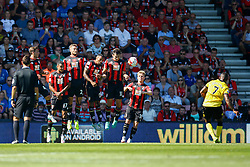 AFC Bournemouth block a free kick from Leandro Bacuna of Aston Villa - Mandatory by-line: Jason Brown/JMP - Mobile 07966 386802 08/08/2015 - FOOTBALL - Bournemouth, Vitality Stadium - AFC Bournemouth v Aston Villa - Barclays Premier League - Season opener