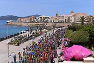 Illustration, Start, Landscape, Peloton, Alghero City, Pink, Sea, during the 100th Tour of Italy 2017, Giro d'Italia, Stage 1, Alghero - Olbia (206km), on May 5, in Sardegna, Italy - Photo Tim De Waele / ProSportsImages / DPPI