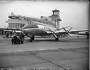 "21/01/1956<br /> 01/21/1956<br /> 21st January 1956<br /> Aer Lingus special - aircraft with new markings, the Vickers Viscount 700 ""Breandán"" in front of the terminal building at Dublin Airport. Note tractor unit towing the aircraft."