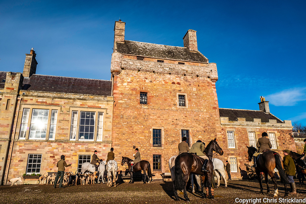 Bemersyde, Melrose, Scottish Borders, UK. 3rd December 2018. The Duke of Buccleuch Foxhounds meet at Bemersyde House, the ancestral seat of the Haig clan. Bemersyde was originally built as a Pele Tower in 1535, during the period of the Border Reivers. The Haig clan, famous for their whisky trade and military leadership, have remained in Bemersyde for 800 years, as predicted in the 13th century by Thomas the Rhymer - 'Tyde what may, what'er betyde, Haig shall be Haig of Bemersyde'.
