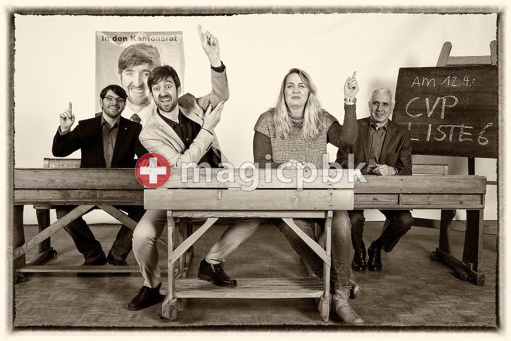 Kandidaten CVP Liste 6 des Kanton Zuerich: Adrian Moser, von links, Philipp Kutter, Janine Bours und Farid Zeroual posieren fuer ein Foto in historischen Schulbaenken am 18. Maerz 2015 in Thalwil. (Photo by Patrick B. Kraemer / MAGICPBK)