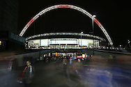 a general view of Wembley Stadium after the match as the fans leave. FIFA World cup qualifying match, european group F, England v Malta at Wembley Stadium in London on Saturday 8th October 2016.<br /> pic by John Patrick Fletcher, Andrew Orchard sports photography.