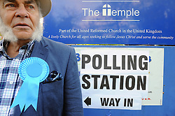 © Licensed to London News Pictures. 07/05/2015<br /> General Election polling day. Voters go to the polls today (07.05.2015).<br /> A Conservative teller collects polling number.<br /> Polling station at The Temple, St Marys Cray High Street.Orpington,Kent.<br /> (Byline:Grant Falvey/LNP)