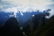 View of Urubamba Valley from Machu Picchu in Peru, South America
