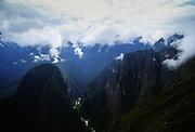 View of Urubamba Valley from Machu Picchu in Peru, South America