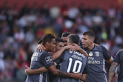 October 22, 2017 - Porto, Aves, Portugal - Benfica's Brazilian forward Jonas celebrates after scoring goal with teammates during the Premier League 2017/18 match between CD Aves and SL Benfica, at Estadio do Clube Desportivo das Aves in Aves on October 22, 2017. (Credit Image: © Dpi/NurPhoto via ZUMA Press)
