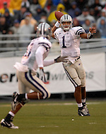 Kansas State quarterback Josh Freeman (1) gets ready to throw to Wildcat receiver Yamon Figurs (16) against Missouri at Faurot Field in Columbia, Missouri, October 21, 2006.  The Tigers beat the Wildcats 41-21.<br />