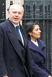 Downing Street, London, March 8th 2016. Work and Pensions Secretary Iain Duncan Smith and Employment Minister Priti Patel arrive for the weekly UK cabinet meeting at Downing Street. ©Paul Davey<br /> FOR LICENCING CONTACT: Paul Davey +44 (0) 7966 016 296 paul@pauldaveycreative.co.uk