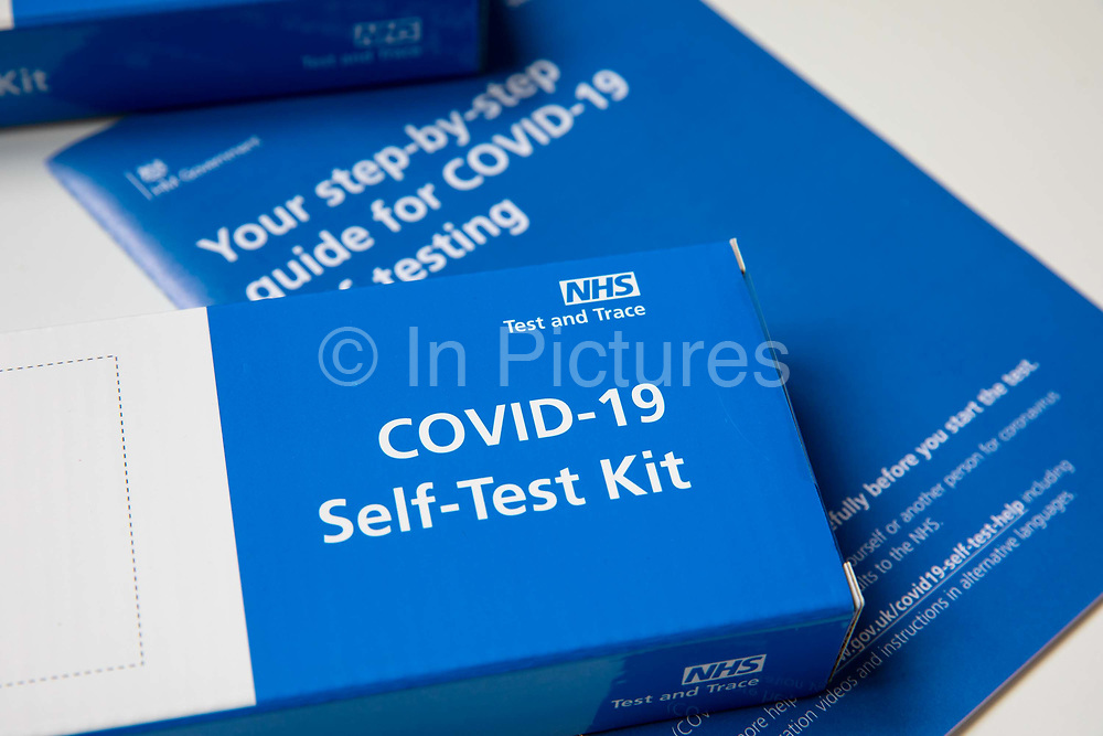 NHS Test and Trace COVID-19 Lateral Flow Device LFD kit, used for routine home testing when someone is showing no signs of COVID-19. This kit was given to a secondary school pupil in England so they can test themselves twice a week at home on the 21st March 2021 in Folkestone, United Kingdom.