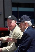Whitey Ford and Yogi Berra at the Major League Baseball All-Stars and 49 Hall of Famers ride up Sixth Avenue in All Star-Game Red Carpet Parade Presented by Chevy on July 15, 2008