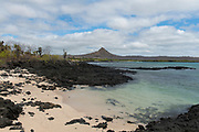 The landing site at Dragon Hill (seen in the background) on the island of Santa Cruz, Galapagos. A poppular site for visiting inshore brackish lakes.