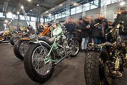 Chopworks' Francesco Frankino Torreslimare's 1979 Harley-Davidson Shovelhead in the LowRide Magazine's bike show at Motor Bike Expo (MBE) bike show. Verona, Italy. Saturday, January 18, 2020. Photography ©2020 Michael Lichter.