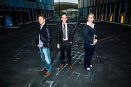 Zytuna, vlnr Tim Bogemans, Joachim Hanne en Francoise Peers, starters van het bedrijf Zytuna, gefotografeerd op en rond het station van Leuven