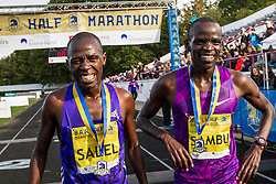Stephen Sambu, Kenya, Nike and Daniel Salel, Kenya after 1-2 finish