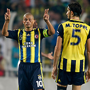 Fenerbahce's Alex De Souza (L) and Mehmet Topal during their UEFA Europa League Group Stage Group C soccer match Fenerbahce between Marseille at Sukru Saracaoglu stadium in Istanbul Turkey on Thursday 20 September 2012. Photo by TURKPIX