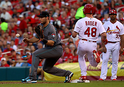July 28, 2017 - St. Louis, MO, USA - The St. Louis Cardinals' Harrison Bader (48) reaches base ahead of the throw to Arizona Diamondbacks first baseman Paul Goldschmidt in the second inning at Busch Stadium in St. Louis on Friday, July 28, 2017. The Cards won, 1-0. (Credit Image: © Christian Gooden/TNS via ZUMA Wire)