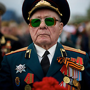 A Second World War veteran attends V-Day commemorations in Donetsk.