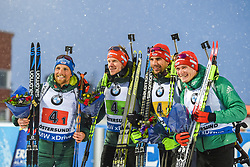 March 16, 2019 - –Stersund, Sweden - 190316 Erik Lesser, Roman Rees, Arnd Peiffer and Benedikt Doll of Germany celebrate on the podium after the Men's 4x7,5 km Relay during the IBU World Championships Biathlon on March 16, 2019 in Östersund..Photo: Petter Arvidson / BILDBYRÃ…N / kod PA / 92269 (Credit Image: © Petter Arvidson/Bildbyran via ZUMA Press)