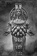 2nd century AD Roman statue of Artemis of Ephesus (Copy of the Greek Classical original), inv no 6278,  The Farnese collection, Naples Archiological Musuem, Italy.  Black and White Wall art print by Photographer Paul E Williams
