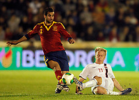 Spain's Montoya (l) and Norway's Nielsen during international sub21 match.March 21,2013. (ALTERPHOTOS/Acero)