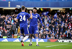 Diego Costa of Chelsea celebrates scoring his opening goal against Scunthorpe United with Gary Cahill of Chelsea - Mandatory byline: Robbie Stephenson/JMP - 10/01/2016 - FOOTBALL - Stamford Bridge - London, England - Chelsea v Scunthrope United - FA Cup Third Round