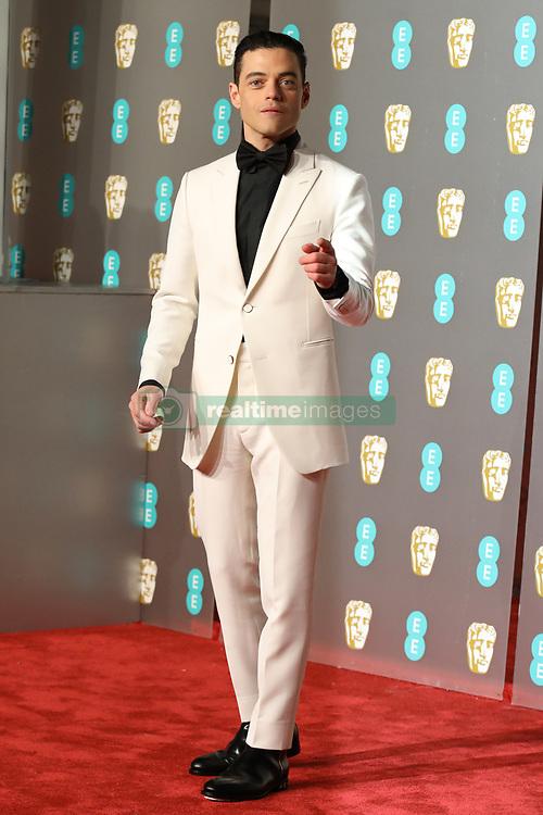 Rami Malek is seen arriving at the BAFTA Awards in London.<br /><br />10 February 2019.<br /><br />Please byline: Vantagenews.com