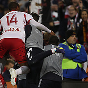 Bradley Wright-Phillips, New York Red Bulls, is mobbed by Thierry Henry and team mates after scoring the winning goal in the 90th minute to lead his side to a 2-1 victory during the New York Red Bulls V Sporting Kansas City, Major League Soccer Play Off Match at Red Bull Arena, Harrison, New Jersey. USA. 30th October 2014. Photo Tim Clayton