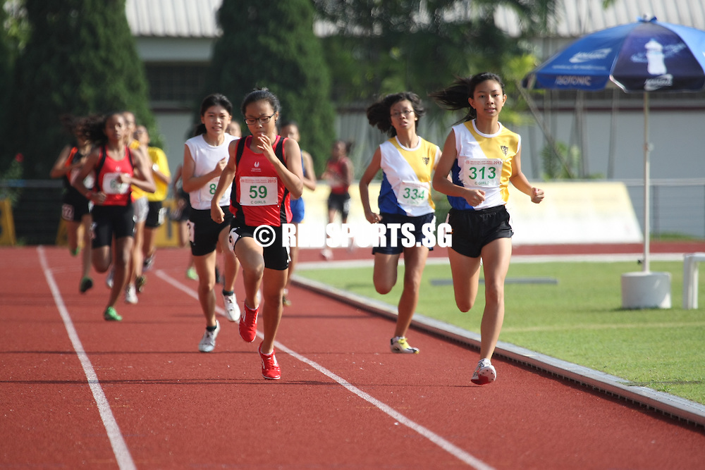 Choa Chu Kang Sports Complex, Monday, April 15, 2013 — Arissa Rashid of Nanyang Girls' High ended off her season with a bang, bagging the C Division 800m gold in a time of 2 minutes 35.85 seconds at the 54th National Schools Track and Field Championships. She narrowly missed out on the record of 2:35.76 by 0.09s, set by Lossini D/O Jeyapandiyen, then of Singapore Sports School, in 2004. <br /> <br /> Story: http://www.redsports.sg/2013/04/22/c-div-girls-800m-arissa-rashid-nanyang-girls-high/