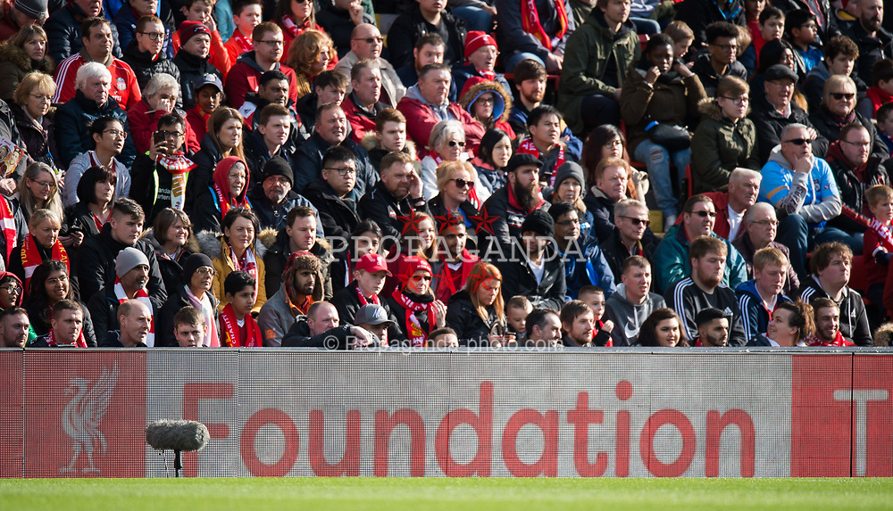 LIVERPOOL, ENGLAND - Saturday, March 24, 2018. A advertising hoarding displays LFC Foundation during the LFC Foundation charity match between Liverpool FC Legends and FC Bayern Munich Legends at Anfield. (Pic by Peter Powell/Propaganda)