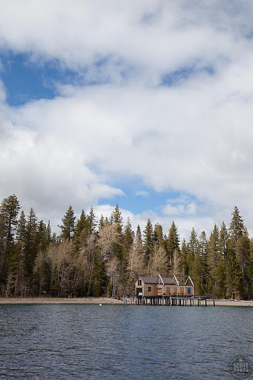 """""""Boat Dock on Lake Tahoe 6"""" - This boat dock was photographed from a small fishing boat on the West shore of Lake Tahoe."""
