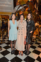 Left to right, LAUREN MILLS, YASMIN MILLS and MADDIE MILLS at a party to celebrate theunveiling of the Claridge's Christmas Tree designed by Christopher Bailey for Burberryheld at Claridge's, Brook Street, London on 18th November 2015.