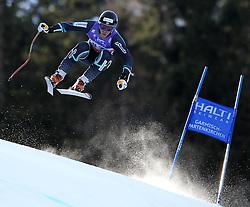 10.02.2011, Kandahar, Garmisch Partenkirchen, GER, FIS Alpin Ski WM 2011, GAP, Herren Abfahrtstraining, im Bild Elton Myhre (NOR) takes to the air competing in the first men's downhill training run on the Kandahar race piste at the 2011 Alpine skiing World Championships, EXPA Pictures © 2011, PhotoCredit: EXPA/ M. Gunn