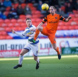 Morton's Lawrence Shankland and Dundee United's Frank van der Struijk. half time : Dundee United 0 v 1 Morton, Scottish Championship game played 25/2/2017 at Tannadice Park.