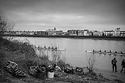 London. United Kingdom,  crews kit and boots waiting for the crews to return after the race, 2018 Women's Head of the River Race.  location Barnes Bridge, Championship Course, Putney to Mortlake. River Thames, <br /> <br /> Saturday   10/03/2018<br /> <br /> [Mandatory Credit:Peter SPURRIER Intersport Images]<br /> <br /> Leica Camera AG  M9 Digital Camera  1/180 sec. 50 mm f. 160 ISO.  17.5MB