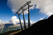 Ski lift cable car in Bormio, Lombardy region of the Alps in northern Italy