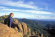 Hiker, Inspiration Point, Backbone Trail, Santa Monica Mountains National Recreation Area, California (MR)