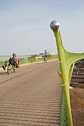 Bij Lent rijden fietsers, waaronder een ligfietser,  over 't Groentje, de nieuwe fietsbrug die onderdeel is van het Rijn-Waalpad, de snelfietsroute tussen Arnhem en Nijmegen. Als de route helemaal klaar is, kunnen fietsers binnen 40 minuten van Arnhem naar Nijmegen fietsen. De snelfietsroute kent weinig obstakels en moet het aantrekkelijk maken om ook langere afstanden met de fiets af te leggen.<br /> <br /> Cyclists ride on 't Groentje (the little green), the new bike bridge which is part of the Rijn-Waalpad, the fast cycling route between Arnhem and Nijmegen. When the route is finished, cyclists can get within 40 minutes from Arnhem to Nijmegen. The fast cycle route has few obstacles and to make it attractive to commute long distances by bicycle.