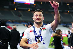 Danny Care of England celebrates after the match - Mandatory byline: Patrick Khachfe/JMP - 07966 386802 - 19/03/2016 - RUGBY UNION - Stade de France - Paris, France - France v England - RBS Six Nations.