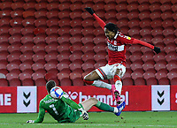 Middlesbrough's Djed Spence beats Coventry City's Marko Marosi before slotting his side's second<br /> <br /> Photographer Alex Dodd/CameraSport<br /> <br /> The EFL Sky Bet Championship - Middlesbrough v Coventry City - Tuesday 27th October 2020 - Riverside Stadium - Middlesbrough<br /> <br /> World Copyright © 2020 CameraSport. All rights reserved. 43 Linden Ave. Countesthorpe. Leicester. England. LE8 5PG - Tel: +44 (0) 116 277 4147 - admin@camerasport.com - www.camerasport.com