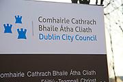 Dublin City Council Civic Offices sign, Dublin, Ireland, Republic of Ireland