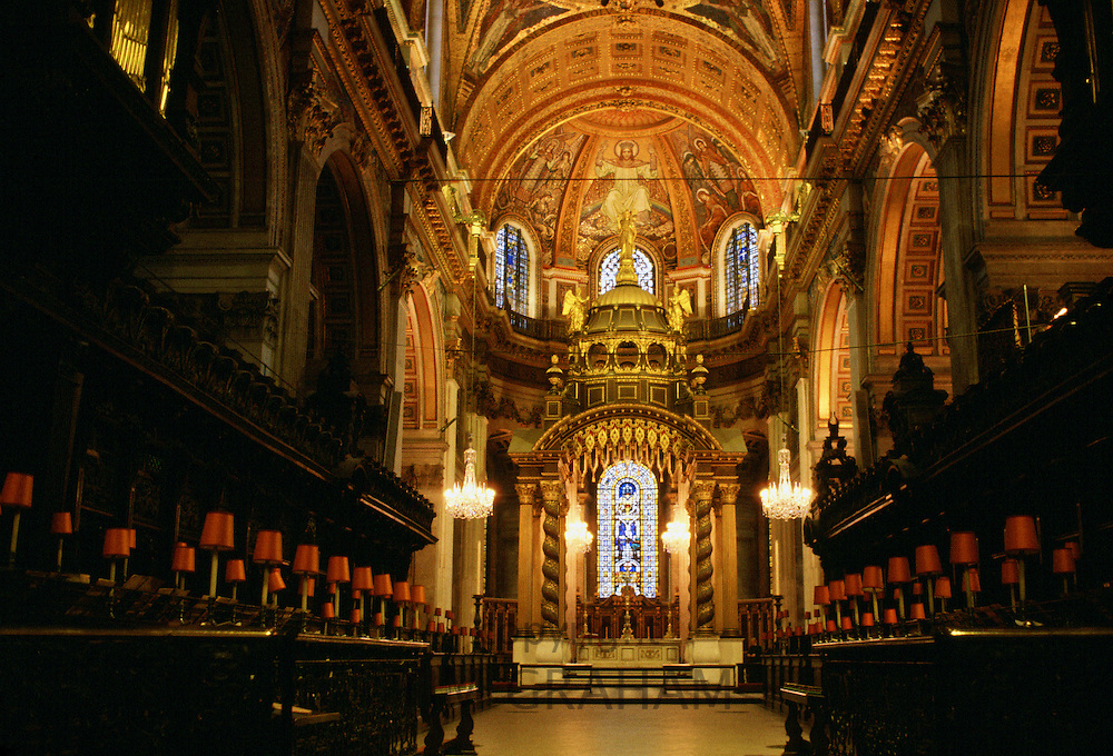 Interior of St Paul's Cathedral which was designed by architect Sir Christopher Wren, London, UK