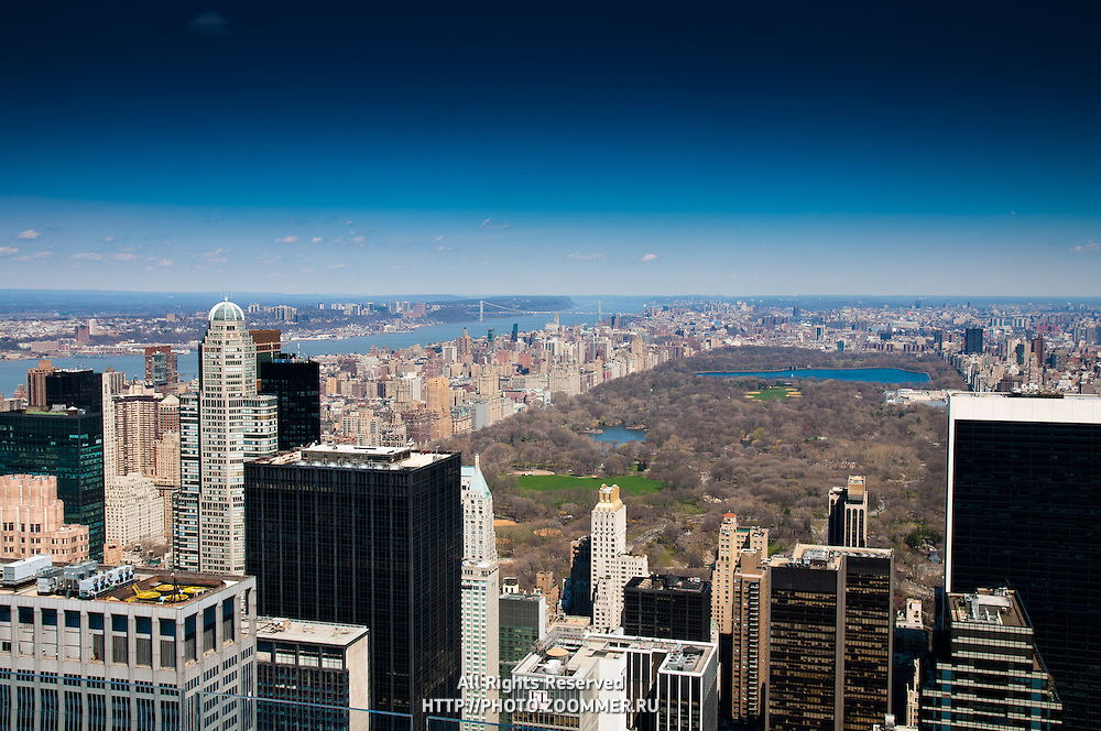Manhattan skyline with Central Park, Hudson and Washington Bridge