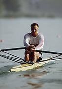 Barcelona,  SPAIN, GER M1X Thomas LANGE. 1992 Olympic Regatta. Lake Banyoles, Nr Barcelona SPAIN,  [Photo, Peter Spurrier/Intersport-images] GER M1X Thomas LANGE