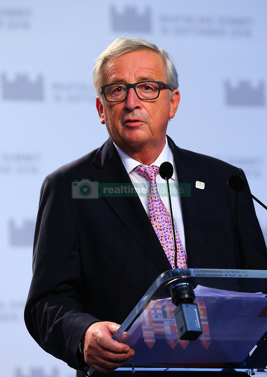 BRATISLAVA, Sept. 17, 2016 (Xinhua) -- European Commission President Jean-Claude Juncker speaks at a press conference after an informal European Union (EU) summit in Bratislava, Slovakia, Sept. 16, 2016. EU members on Friday issued a joint declaration, formulating a road map for the bloc to tackle challenges, said Slovak Prime Minister Robert Fico. (Xinhua/Gong Bing) (wtc) (Credit Image: © Gong Bing/Xinhua via ZUMA Wire)