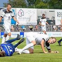 01.08.2020, C-Team Arena, Ravensburg, GER, WFV-Pokal, FV Ravensburg vs SSV Ulm 1846 Fussball, <br /> DFL REGULATIONS PROHIBIT ANY USE OF PHOTOGRAPHS AS IMAGE SEQUENCES AND/OR QUASI-VIDEO, <br /> im Bild Vinko Sapina (Ulm, #22) und Samuel Boneberger (Ravensburg, #17) gehen nach einem Zweikampf zu Boden<br /> <br /> Foto © nordphoto / Hafner