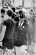 Henley on Thames, England, 1989 Henley Royal Regatta, River Thames, Henley Reach,  [© Peter Spurrier/Intersport Images], The Ladies Challenge Cup, NCRA, Harvard University, USA., Regatta Chairman, Peter CONI QC., congratulates the Crew,